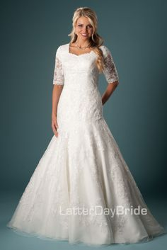 Oriana- Latter day bride http://latterdaybride.com/fit-flare-mermaid-wedding/oriana-details