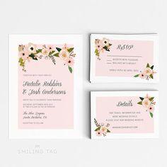 Romantic Floral Wedding Invitation Suite