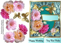 A beautiful way to say Happy Birthday with this 3D card front. has 2 different labels, Happy Birthday, and very best wishes, so it can be used for other reasons, and of course you can use your own,
