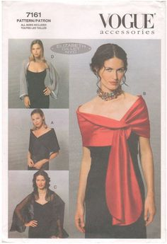 Vogue 7161 - 2001 Sewing Pattern - Uncut and complete with instructions.  Evening Wraps: A: Asymmetrical closure. B: Buttonhole opening. C: Self ruffle. D: Contrast bands.  Sizes: Small 6/10 Medium 12/14 Large 16/18 XLarge 20/22 XXLarge 24  Envelope is in good condition. Age-related wear and discoloration. There are a few dirty marks on the envelope. Want to see more sewing patterns from my shop? https://www.etsy.com/shop/HappyIFoundIt?ref=si_shop