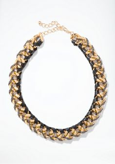 bebe chain & leather statement necklace