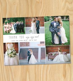 Photo credit: www.stevenmichaelphoto.com. Custom wedding thank you photo collage printable card. -- HOW TO ORDER -- 1. Add this listing