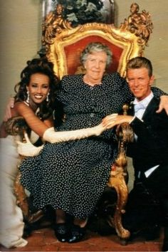 Iman & David Bowie with Davids' mother on their weddingday.