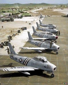Five North American F-86A Sabre fighters of the 4th Fighter Interceptor Wing on…