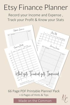 Etsy Finance Planner for Etsy Sellers, Etsy Business & Admin Printable Planner to track income and expenses and manage your Etsy Shop/Store Business Planner, Business Tips, Printable Planner, Printables, Starting An Etsy Business, Etsy Seo, Setting Goals, As You Like, Etsy Seller
