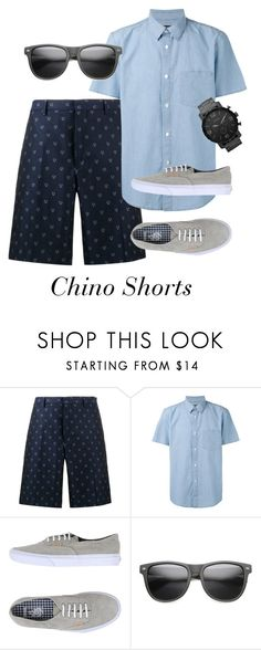 Chino Shorts -  Look 1 by duesouthstyle on Polyvore featuring A.P.C., Fendi, Vans, FOSSIL, ZeroUV, men's fashion and menswear