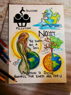 Art journal for beginners diy 27 ideas for 2019 Save Environment Poster Drawing, Save Environment Posters, Environment Painting, Environment Drawing Ideas, Earth Drawings, Cool Art Drawings, Pencil Art Drawings, Save Earth Drawing, Save Water Poster Drawing