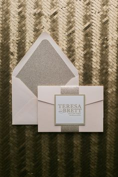 Fabulous Blush and Gold Glitter Modern Wedding Invitations. ALYSSA Glitter Pocket Folder Collection by Just Invite Me