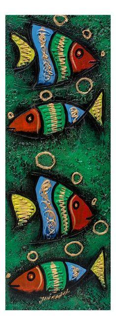 """Quadro """"Pesci"""" con un sfondo verde e una bellissima combinazione di colori raffigurante dei pesci fatti a rilievo. Tecnica acrilico su tela. Gia montato su telaio in legno.  http://www.solohechoamano.it/store/quadri/quadri-caraibi-rep-dominicana-haiti/quadro-pesci.html"""