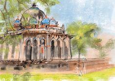 Digital urban sketch New Delhi