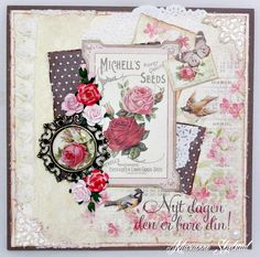 This time I have made a card in beige, brown and lovely deep pink shades. All papers and details are from the new collection Vintage Garden. On the sheet Seed packets I found a gorgeous rose image …