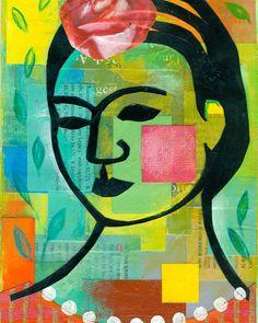 portrait of Frida Kahlo 8x10 PRINT collage by ElizabethRosenArt