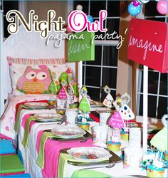 night owl pj party for the girls' birthday party this year? Pyjamas Party, Pj Party, Sleepover Party, Slumber Parties, Party Gifts, Party Time, Owl Parties, Owl Birthday Parties, Club Parties