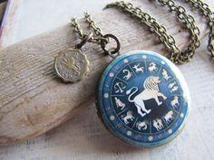 Leo Zodiac Jewelry Leo Locket by amandadavie on Etsy, $38.00