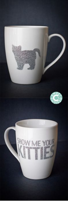 DIY Cat Mug Tutorial from Sweet C's Designs. For your cat loving friends! She used iron-on vinyl and writes that it is dishwasher safe (although I'd hand wash).