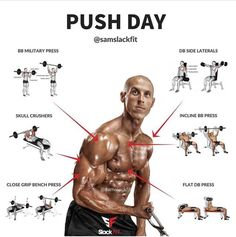 One of my favorite training cleavages is the split Push, Pull, Legs. You can build muscle and strength without undue strain on parts of the body. You can also train with a higher frequency, which corresponds to faster results. Fitness Workouts, Fitness Motivation, Weight Training Workouts, Transformation Fitness, Push Workout, Chest Workouts, Muscle Fitness, Build Muscle, Excercise