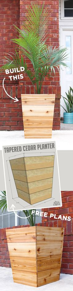 1600 wood plans - How to build a DIY modern, tapered cedar planter with free design plans and tutorial by Jen Woodhouse Woodworking Drawings - Get A Lifetime Of Project Ideas and Inspiration! Woodworking Projects Diy, Diy Wood Projects, Outdoor Projects, Garden Projects, Woodworking Plans, Projects To Try, Woodworking Skills, Woodworking Furniture, Furniture Plans