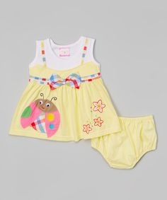 Another great find on #zulily! Yellow & White Ladybug Dress & Diaper Cover - Infant #zulilyfinds