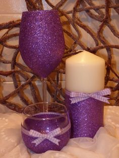 Purple Glitter set Glass,