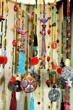 ⋴⍕ Boho Decor Bliss ⍕⋼ bright gypsy color & hippie bohemian mixed pattern home decorating ideas - room divider beads by AowDusdee