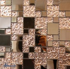 min. 50 Sq. ft Bathroom Accent Wall, Copper Bathroom, House Tiles, Wall And Floor Tiles, Wall Tiles, Rehab House, Rose Gold Kitchen, Copper Glass, Glass Mosaic Tiles