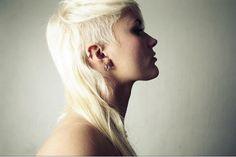 White hair and shaved fringe
