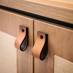 Crafted from high-grade leather, this pull is designed to work on drawers and other joinery units. Natural leather darkens naturally with time, and each hid. Concrete Bar, Joinery Details, Ideias Diy, Armoire, Door Handles, Woodworking, Hardware, Interior Design, Studio