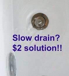 Slow drain? Two dollar, chemical free solution to clear drains.  Try this plumbing DIY before calling that expensive plumber!