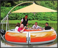 This is way better then the dock boats at the lake!!!!  BBQ Boat  This luxurious floating dining room offers a built-in charcoal grill, seating for 10 adults and a retractable 11′ diameter sun umbrella. Also has an electric motor for cruises through calm waters.