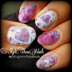 Style Those Nails: Charmed Hearts- Dry Marbling Nail art