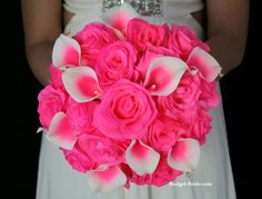 Camila Wedding Flower Package This wedding bouquet has neon pink roses and neon pink halo calla lilies.