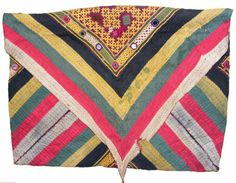 Old / Antique Silk Embroidered quran bag from Sindh, Pakistan c.1920s-1940s. Very fine embroidery . The bag is made from one large embroidered panel that is then folded to make the pouch. Sometimes referred to Quaran Bags, they were / are more often used much like a purse is used, for carrying small personal possessions. You could certainly use this, but they are getting quite collectible and difficult to come by, a nice piece for display. Size: wide 53 cm and Lengh 43 cm