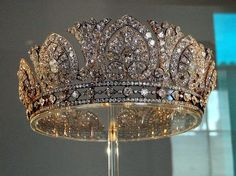 Devonshire diamond tiara. made in 1893 for Louise, Duchess of Devonshire (1832-1911), just a year after she wed the 8th Duke. The tiara has 13 palmette motifs separated by lotus motifs, set on a base of three rows. The base dates from slightly later than the top part, around 1897. Jeweler A.E. Skinner used nearly 1,900 diamonds set in silver and gold to make the piece, including 1,041 diamonds taken from other family pieces