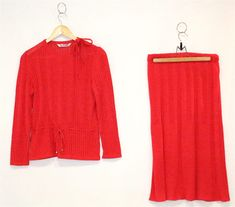 Vintage Clothing Two-Piece Skirt Set Bright Red Knit 1970s