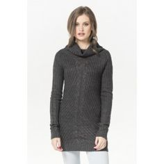 Charcoal cable knit turtleneck sweater
