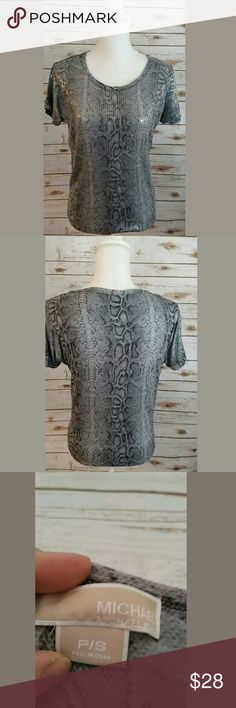 NEW MOCHA SILVER FOIL PRINT SEQUIN SLOUCH BAGGY TOP8-14