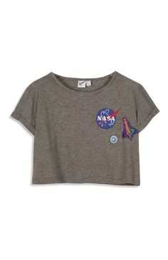 """Graues, bauchfreies """"Nasa"""" T-Shirt"""