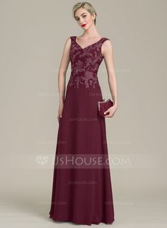 A-Line/Princess V-neck Floor-Length Chiffon Lace Mother of the Bride Dress With Beading Sequins (008102691)