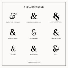 The ampersand + free fonts.
