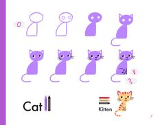 How to draw a cat (and kitten) using basic shapes. More animals here: http://kibooco.com/draw