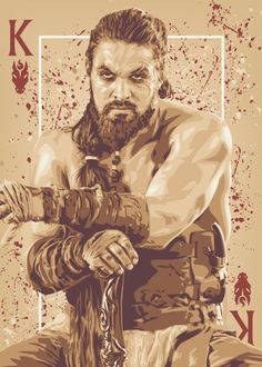 Khal Drogo- Game of Thrones playing cards posters by ratscape Carte Game Of Thrones, Game Of Thrones Cards, Got Game Of Thrones, Khal Drogo, Jason Momoa, Winter Is Here, Winter Is Coming, Carte Got, Got Fan