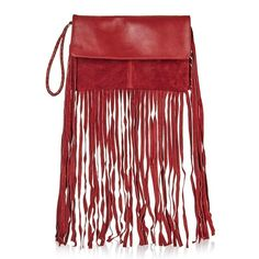 Topshop Leather & Suede Fringe Clutch (£41) ❤ liked on Polyvore featuring bags, handbags, clutches, burgundy, leather clutches, leather handbags, leather fringe handbag, genuine leather purse and fringe handbags