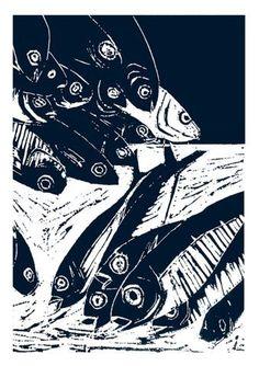 Pêche du jour - sardines, linogravure Morgane Chouin