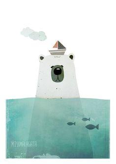 Ilustraciones - Ilustración Polar bear - DinA5 - hecho a mano por missmalagata en DaWanda
