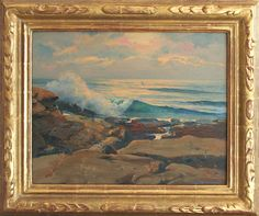 "K. Nathan Gallery 16""x20"" oil of ""La Jolla Rocks and Sea"" by Alfred R. Mitchell"