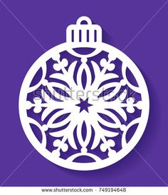 Laser cut template of Christmas ball with a snowflake. Xmas tree decoration for laser cutting, plotter cutting, printing. Vector illustration on a blue background. Openwork ball with a lace ornament.