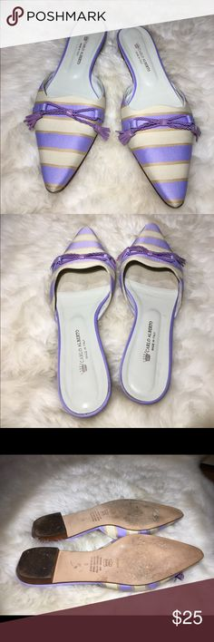 """Carlo Alberto Leather/Fabric Lavender Mule (Italy) Beautiful Lavender/Ivory mules. Leather and fabric upper, leather soles. Made in Italy. Rope tassel detail on front of shoe. 1/2"""" heel. Gently used, in a very good condition. Signs of wear only on soles. Carlo Alberto Shoes Flats & Loafers"""