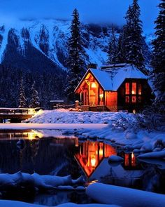 Beautiful cabin in the snow