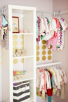 Cute kid closet with Ikea Expedit shelf