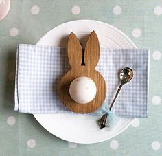 WOODEN OAK BUNNY EARS EGG CUP